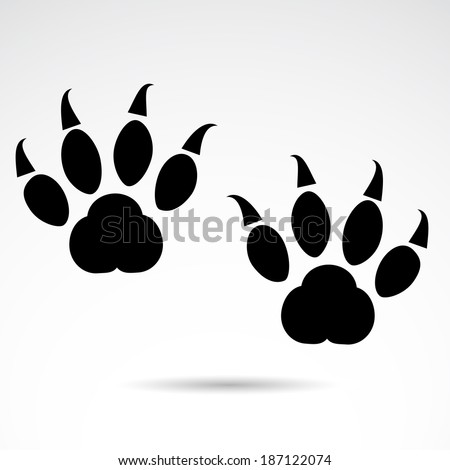 Dangerous animal footprint isolated on white background. - stock photo