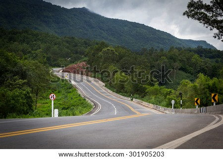 Dangerous curves in Thailand. Clear focus on specific areas of the image./ soft Focus