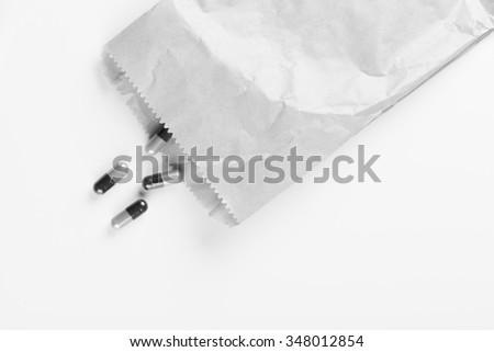 Dangerous drag in paper bag - stock photo