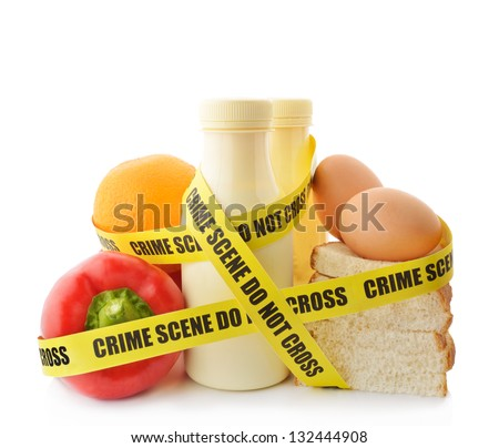 Dangerous food. Food wrapped in crime scene tape. - stock photo