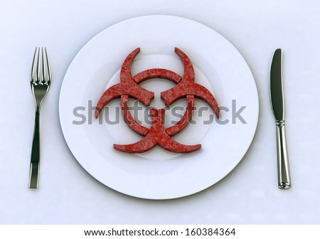dangerous food on plate with fork and knife, 3d illustration - stock photo