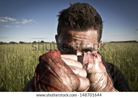 dangerous gangster - stock photo