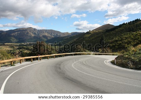 Dangerous hairpin curve on the road in New Zealand's Otago region. South Island.