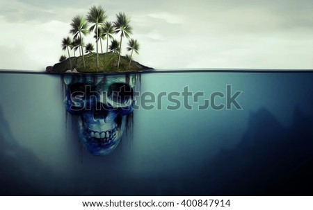 Dangerous island with skull underneath - stock photo