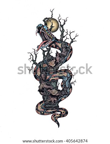 Dangerous moon guard. Graphic illustration depicting a serpent on the tree made with ink and colored pencils. Hand drawn picture that can be used as an element of your tattoo.   - stock photo