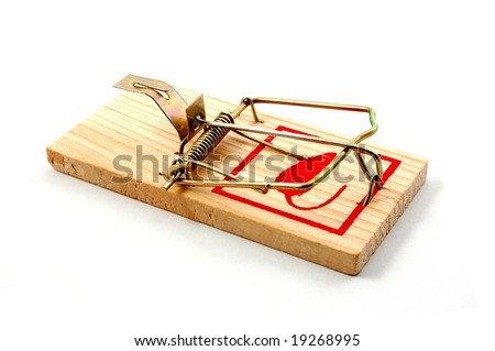 dangerous mousetrap isolated on white background
