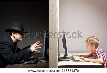 Dangerous online friendship concept - stock photo