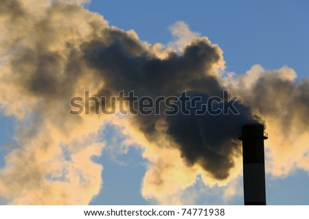 Dangerous toxic CO2 clouds from industrial chimney, pollution concept