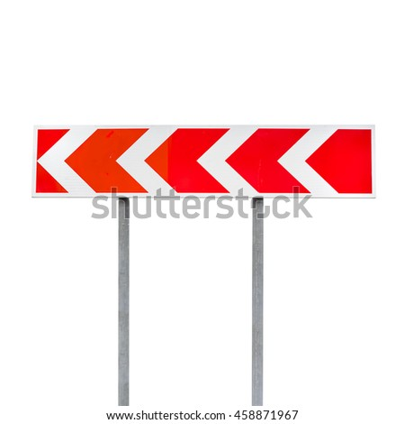 Dangerous turn. Red and white stripped arrow. Road sign isolated on white background