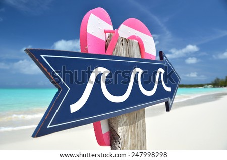DANGEROUS WAVES beach sign - stock photo