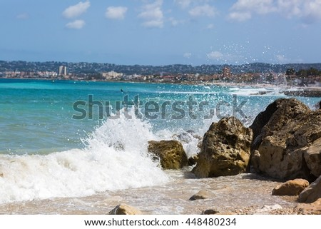 Dangerous waves in sunny day - stock photo