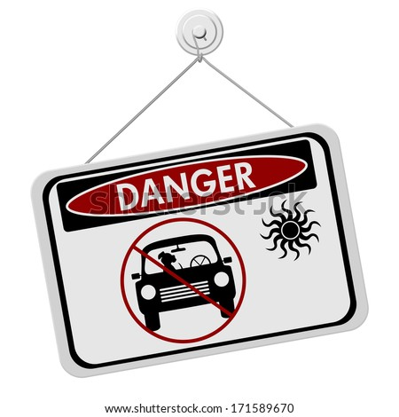 Dangers of leaving a dog in parked cars, A red and black danger sign with the symbols of dog in car isolated on a white background - stock photo
