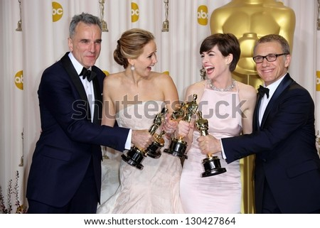 Daniel Day-Lewis, Jennifer Lawrence, Anne Hathaway and Christoph Waltz at the 85th Annual Academy Awards Press Room, Dolby Theater, Hollywood, CA 02-24-13