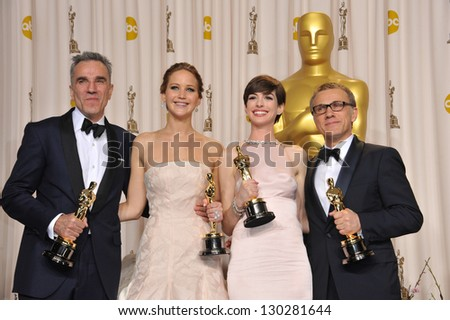 Daniel Day Lewis, Jennifer Lawrence, Anne Hathaway & Christoph Waltz at the 85th Academy Awards at the Dolby Theatre, Los Angeles. February 24, 2013  Los Angeles, CA Picture: Paul Smith / Featureflash - stock photo