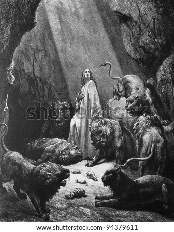 Daniel in the lions pit. 1) Le Sainte Bible: Traduction nouvelle selon la Vulgate par Mm. J.-J. Bourasse et P. Janvier. Tours: Alfred Mame et Fils. 2) 1866 3) France 4) Gustave Doré - stock photo