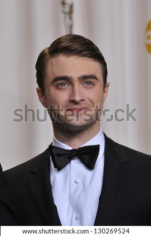 Daniel Radcliffe at the 85th Academy Awards at the Dolby Theatre, Los Angeles. February 24, 2013  Los Angeles, CA Picture: Paul Smith