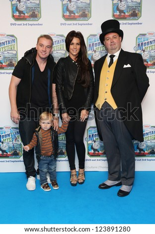 Danielle Lloyd, Jamie O'Hara and their son Archie  arriving for Thomas & Friends Blue Mountain Mystery premiere held at the Vue cinema, London. 01/09/2012 Picture by: Henry Harris - stock photo