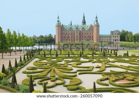 Danish castle and garden in Hillerod, Denmark - stock photo