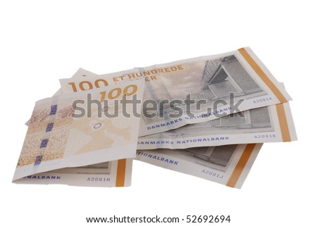 Danish currency. 100 bill notes. 400 dkr - stock photo