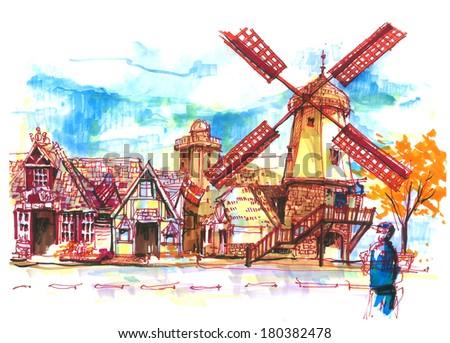 Danish, European town in Solvang, USA beautiful illustration - stock photo