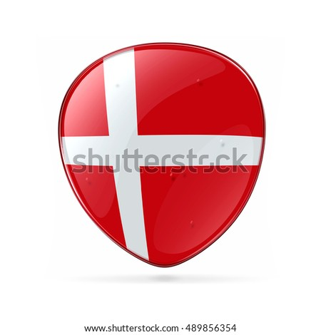 Danish Flag icon, isolated on white background.