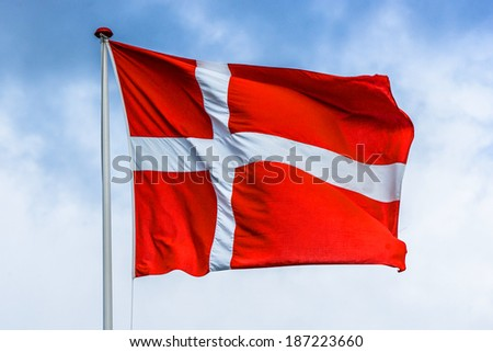 Danish flag in red and white color - stock photo