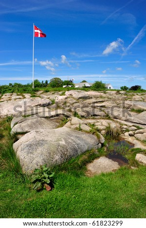 Danish flag on Bornholm island, Denmark - stock photo