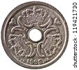 Danish 1 Krone Coin Obverse Showing the Queens Monogram Isolated - stock photo