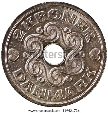Danish 2 Krone Coin Reverse Showing Pre-historic Danish Art  Isolated