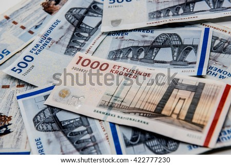Danish kroner, currency from denmark in europe - stock photo