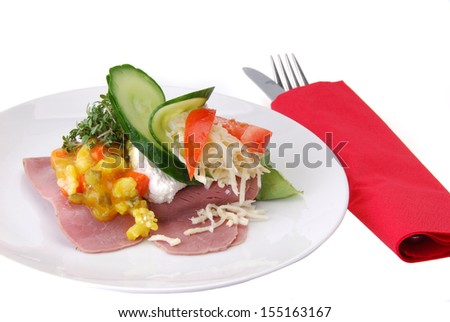 Danish open sandwich with pickles and beef