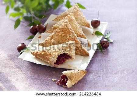 Danish Pastry Cherry Turnovers - stock photo