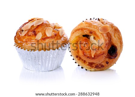 danish pastry isolated on the white background - stock photo