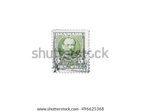 Danish Postage  Stamp on white background