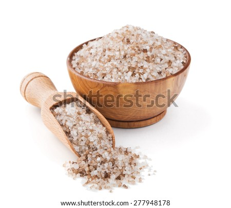 Danish smoked salt in a wooden bowl isolated on white background - stock photo