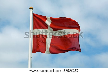 Danish waving flag - stock photo