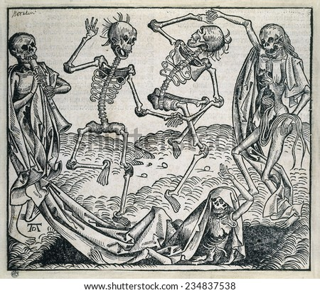 "Danse Macabre or Dance of Death (1493). Picture by Michael Wolgemut from ""Liber chronicarum"" by Hartmann Schedel. Xylography"