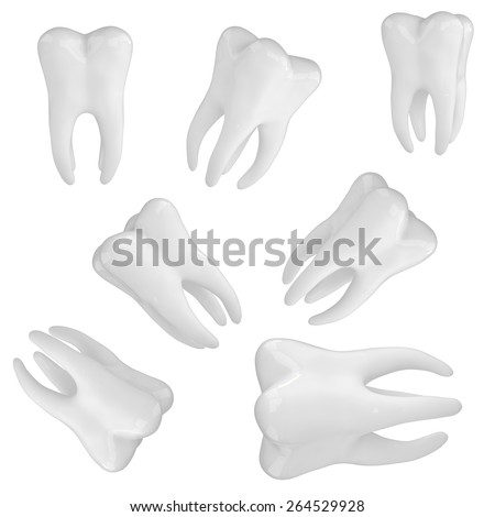 Dantist Photo-realistic 3d render of a white tooth - stock photo