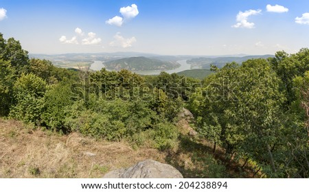 Danube and Mount Borzsony from Mount Pilis in the Summer at Hungary