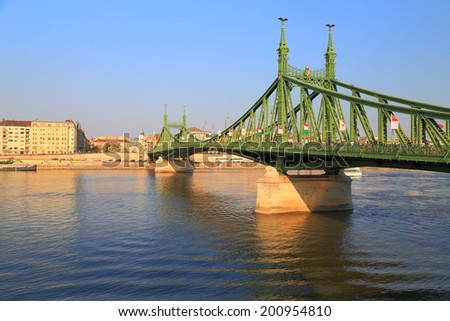 Danube river and Budapest buildings and bridge, Hungary - stock photo