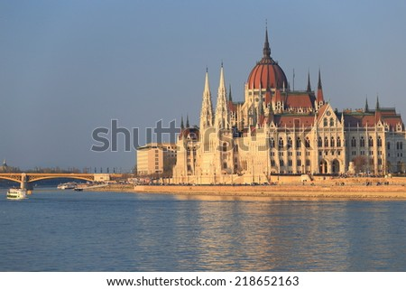 Danube river and Hungarian Parliament building at sunset, Budapest, Hungary
