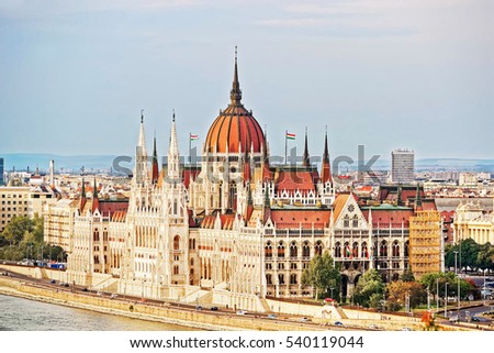 Danube River and Hungarian Parliament house in Budapest, Hungary