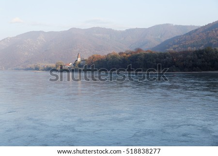 danube river in autumn in austria wachau