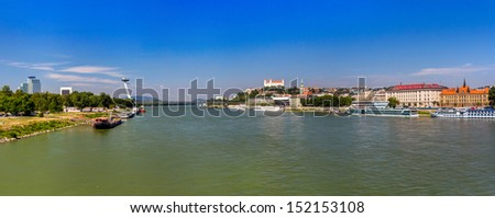 Danube river in Bratislava - Slovakia - stock photo