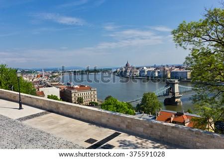 Danube river in Budapest city Hungary in springtime - stock photo