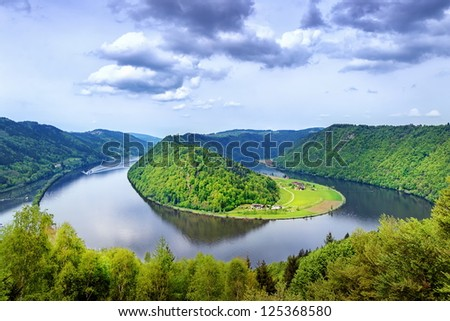 Danube river winding in the austrian plains - stock photo