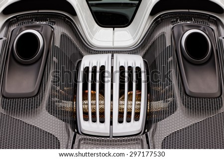 DANVILLE â?? JULY 5: Engine cover, vents, exhaust of Porsche 918 Spyder on display at Cars & Coffee event by Blackhwak Automotive Museum on July 5, 2015 in Danville, CA, USA.