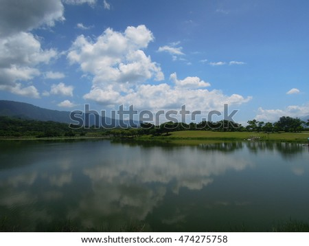 Dapo pond landscape. The Dapo Pond  is a lake in Chishang Township, Taitung County, Taiwan.