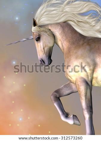Dapple Buttermilk Unicorn - Cosmic stars surround the beauty of a dapple buttermilk unicorn as he prances across the universe. - stock photo