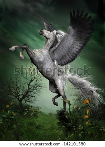 Dapple Grey Pegasus - A dapple grey pegasus takes to flight from a forest knoll with huge wing beats. - stock photo